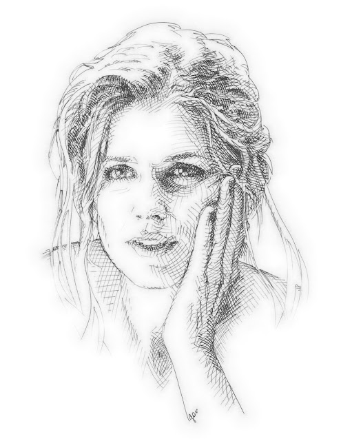 traditional drawing of woman