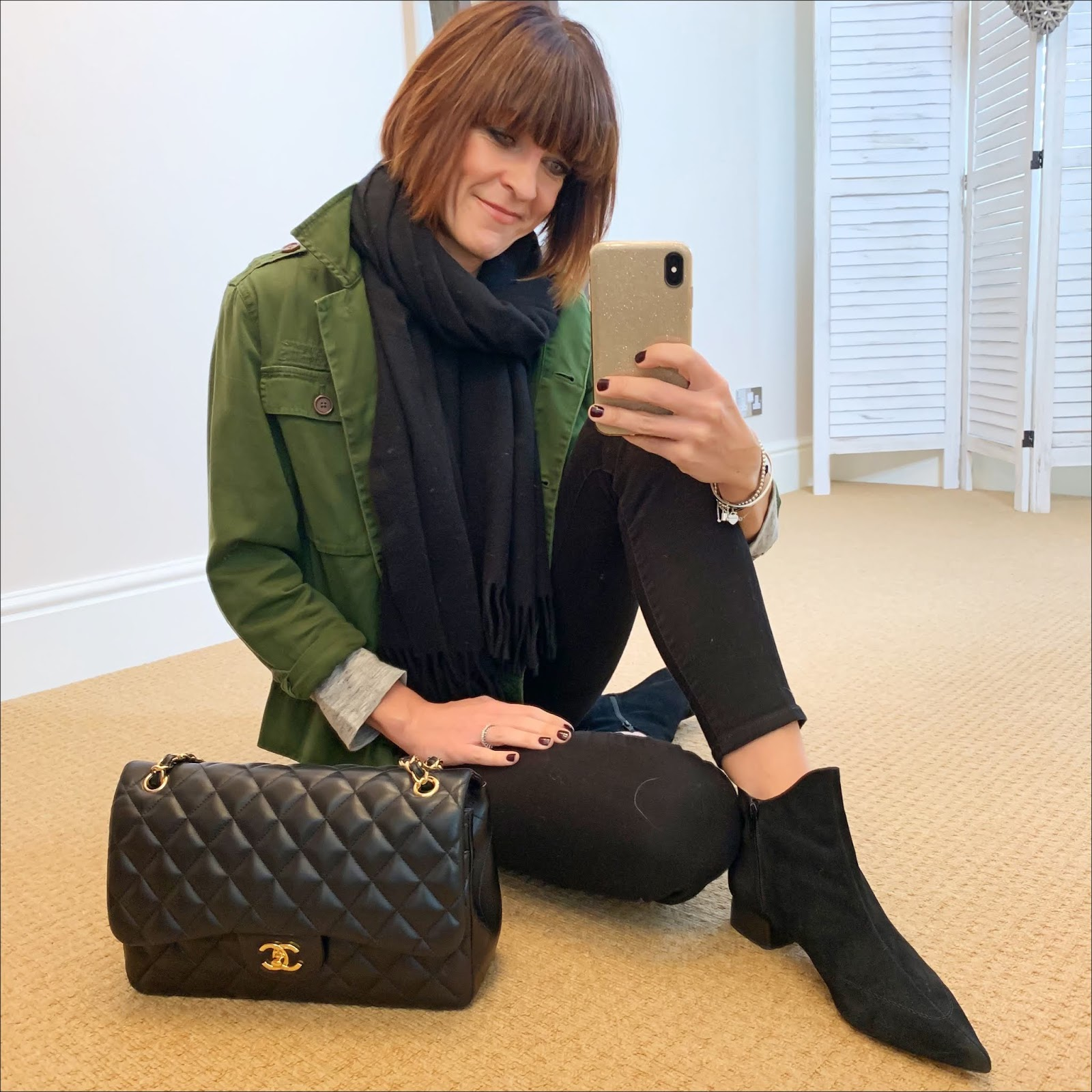 my midlife fashion, j crew cotton overshirt, alexander wang linen t shirt, chanel quilted bag, j crew 8 inch stretch true black jeans, acne studios canada wool scarf, find ark womens leather ankle boots