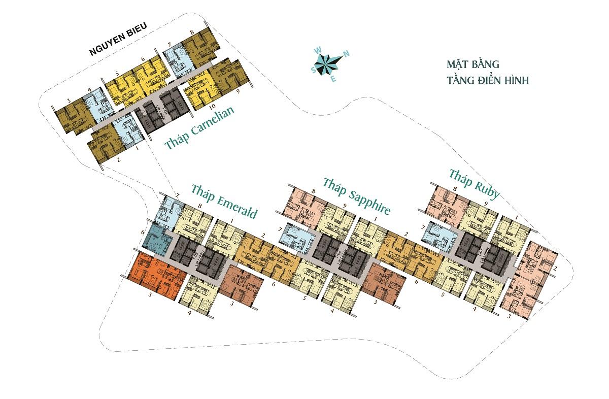 Mặt bằng tầng điển hình khu căn hộ Dragon Hill Premier