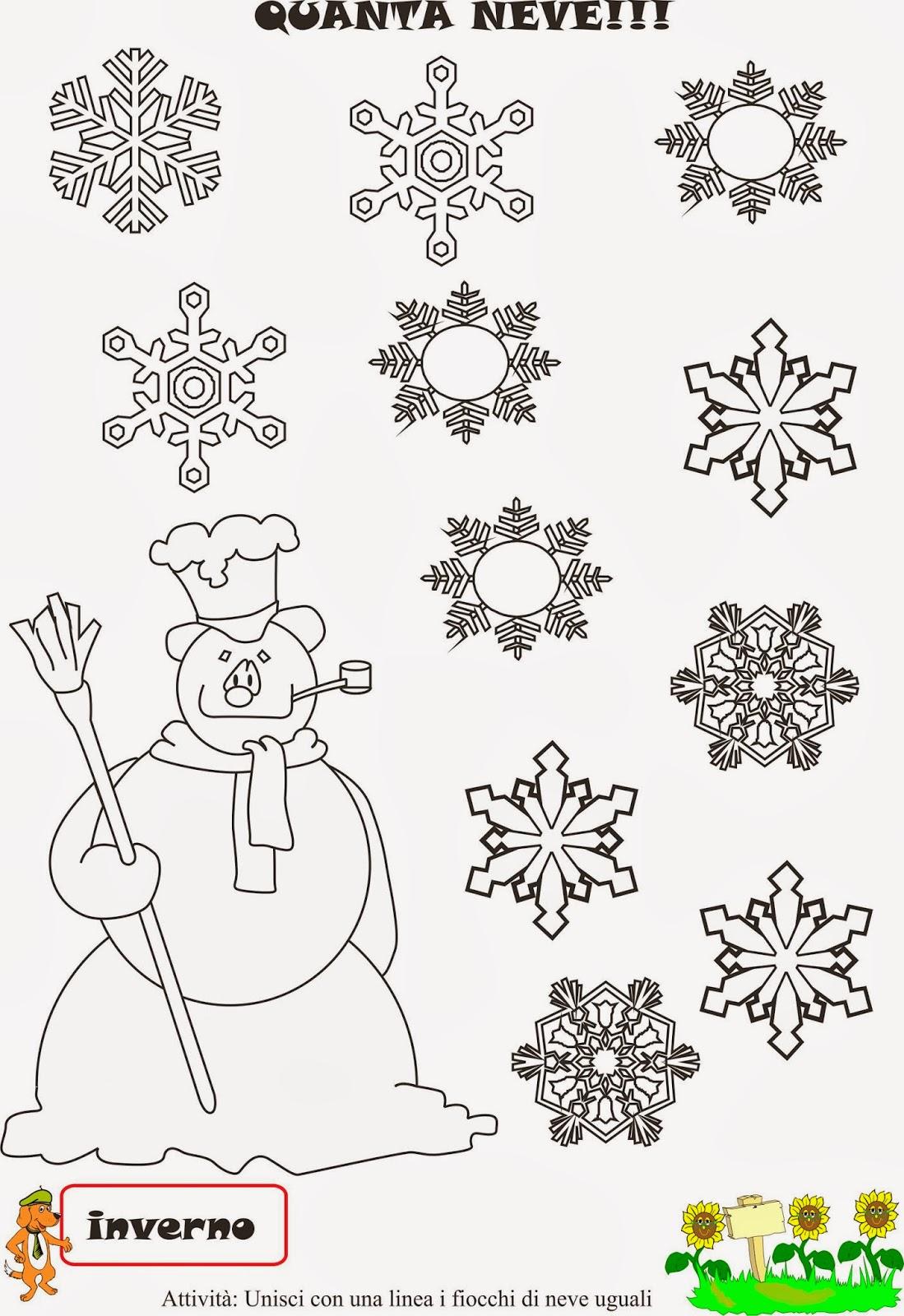A scuola con poldo schede didattiche la neve for Schede didattiche scuola infanzia 3 anni