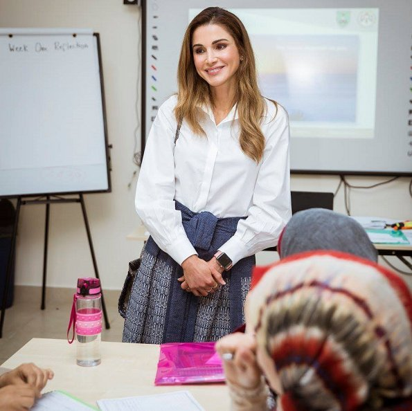 Queen Rania wore Maison Makarem Fearful Symmetry Skirt and Balloon Long Sleeve Shirt, Jimmy Choo laria shoes, Fendi Bag