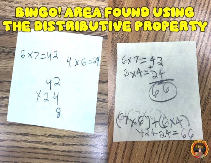 Using the distributive property of multiplication to find the area of irregular shapes