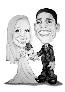 caricaturas de noivos para convites de casamento