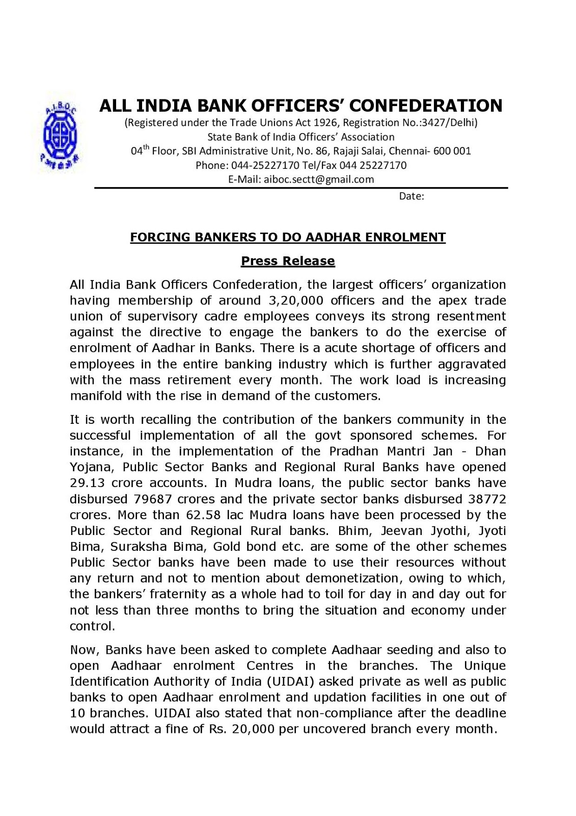Forcing Bankers to do Aadhar Enrolment - AIBOC Press Release