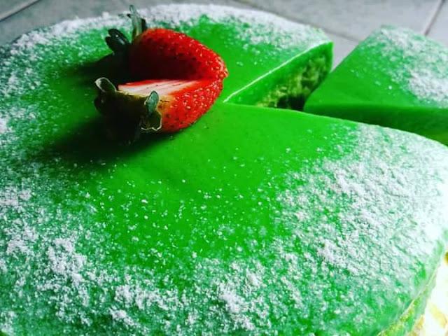 resepi kek pandan custard