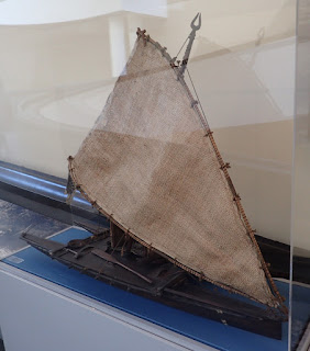 """Fiji: Sailing boat"" (Twin-hull canoe with oceanic lateen sail)"