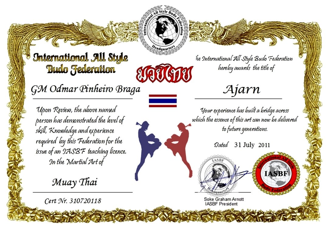 Muay Thai Certificate Templates Urgup Kapook Co
