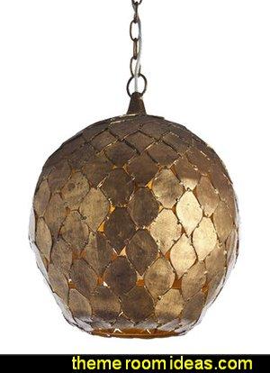 Moroccan design antiqued gold pendant
