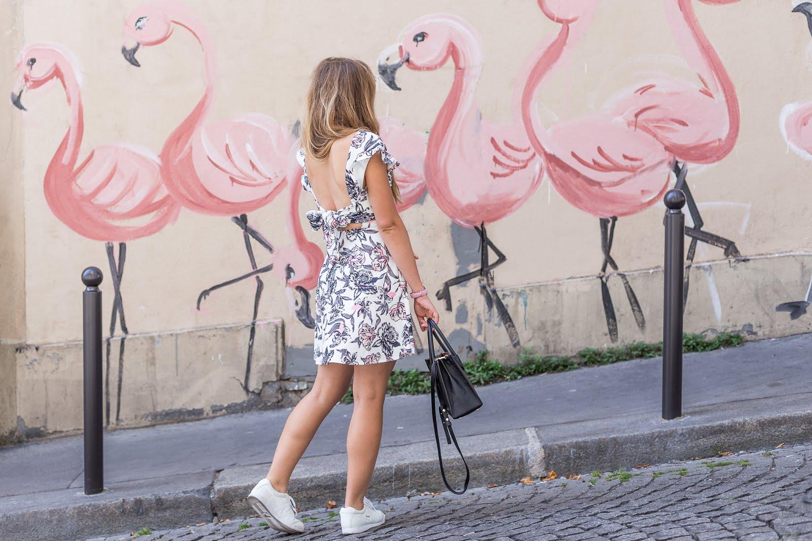 Montmartre rue en pente avec tag flamant rose