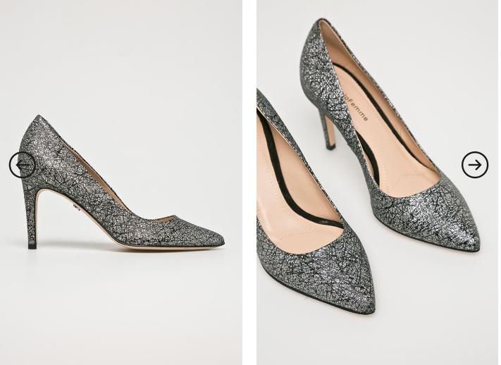 Solo Femme - Pantofi cu toc inalt eleganti gri din gliter piele naturala