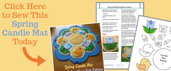 Spring Candlemat Candle Mat Penny Rug Wool Felt Applique PDF Pattern Design Instant Download CraftyMarie