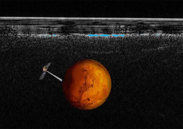 lago de agua liquida em Marte