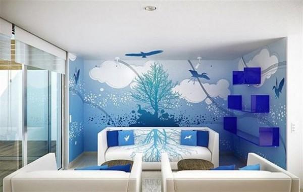 Desain Ruang Tamu Biru Langit
