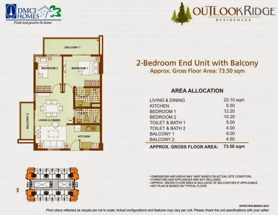 Outlook Ridge Residences 2-BEDROOM END UNIT - 73.50 SQM