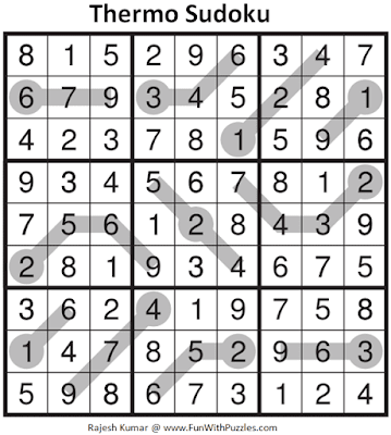 Answer of Thermometer Sudoku Puzzle (Fun With Sudoku #314)