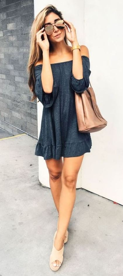 cool summer outfit / off shoulder dress + nude bag + sandals