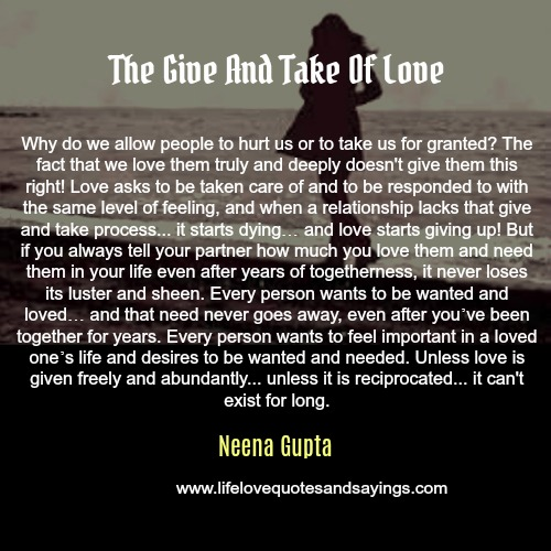 THE GIVE AND TAKE OF LOVE