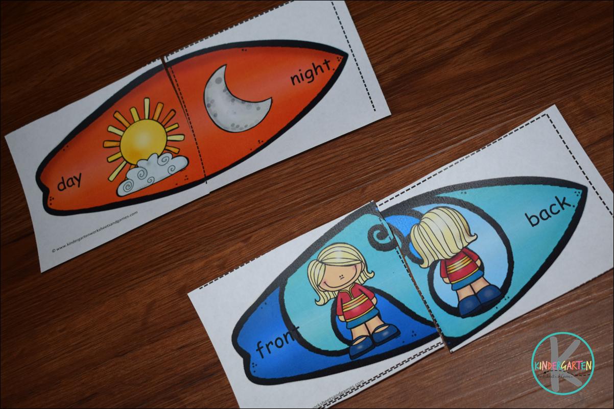 Kindergarten Worksheets And Games Free Surfboard Opposite