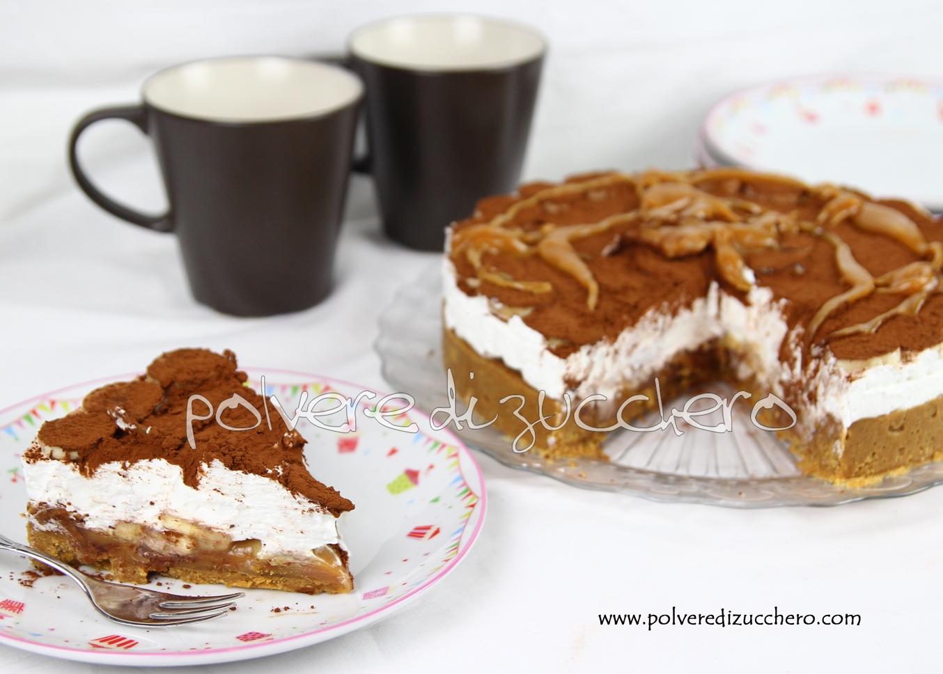 tutorial passo a passo ricette banoffee pie banane cacao caramello recipe toffee polvere di zucchero