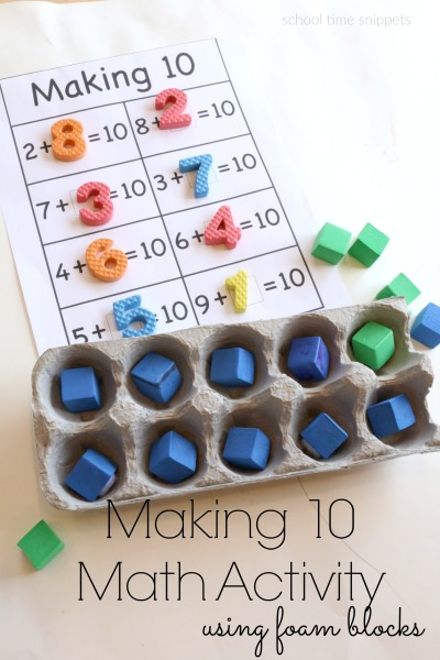 Foam blocks are a great hands-on manipulative!  Love this simple way to work on math skills!
