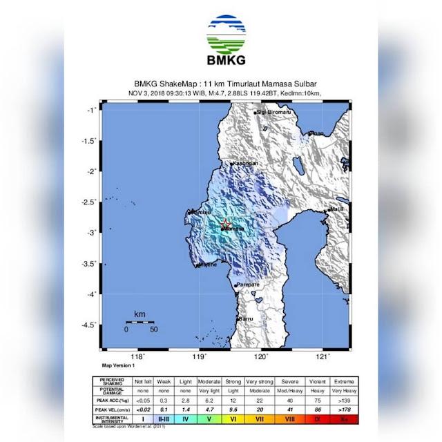 BREAKING NEWS: Setelah Poso, Gempa Berkekuatan 4.7 Skala Richter Juga Guncang Mamasa