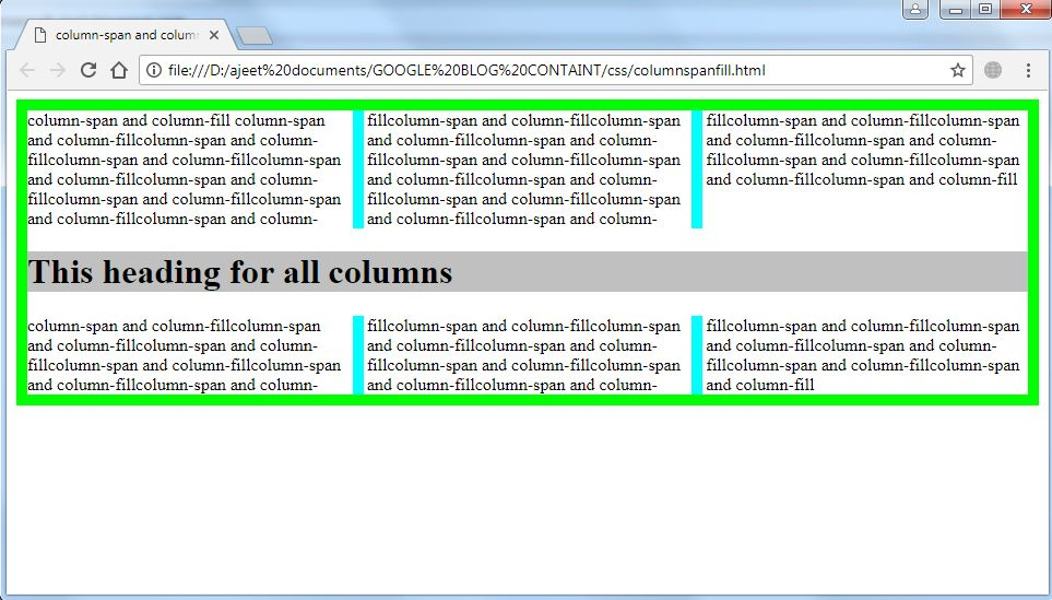 New technologies column span and column fill for Html table th span 2 columns