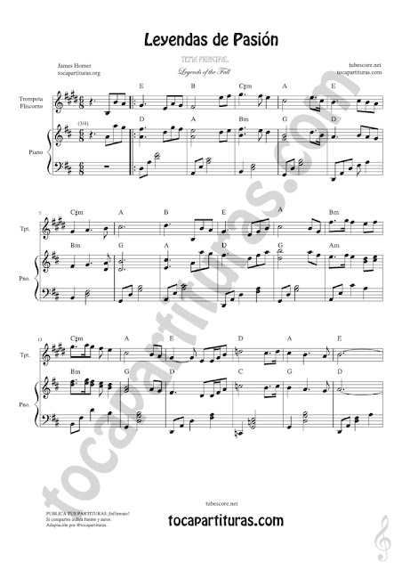1 Leyendas de Pasión Partitura de Trompeta y Fliscorno en Si bemol Legends of the Fall Sheet Music for Trumpet and Flugelhorn