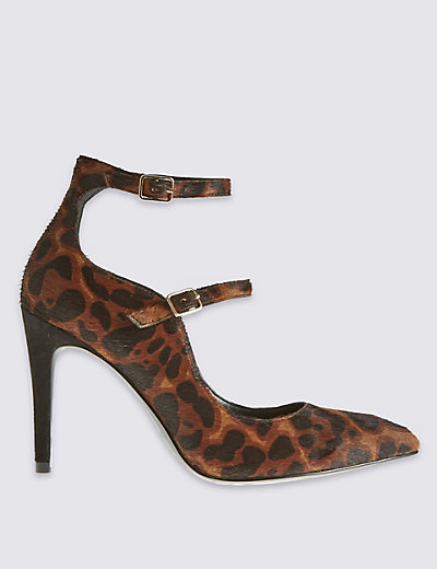 Leopard double strap sexy court shoes