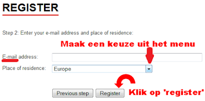 Registreerscherm 'E-mail adres en woonplaats'