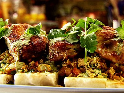Brick Chicken with Apricot Couscous Recipe