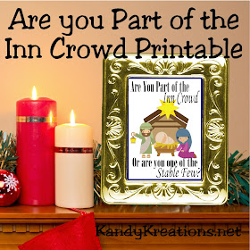 Are you part of the Inn Crowd this Christmas? If so, print andshare this fun free printable that would make a beautiful Christmas gift or decoration for your Christmas mantel.