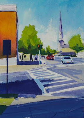 A gouache painting of the intersection of Main Street and South Cayuga in Williamsville NY.