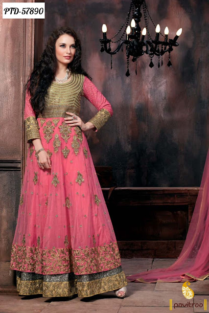 pink net long floor length heavy work anarkali salwar suit online shopping at pavitraa.in