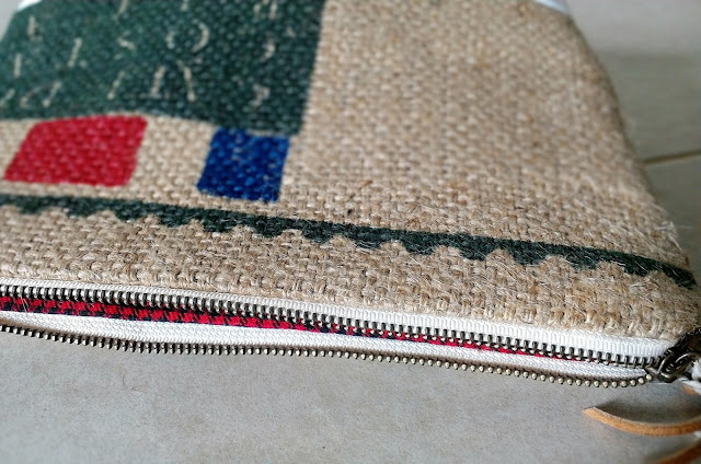 Repurposed burlap zipper pouch handmade in Plymouth by Lina and Vi