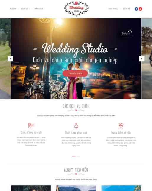 Mẫu blogspot Wedding Studio đẹp, hoa tran web