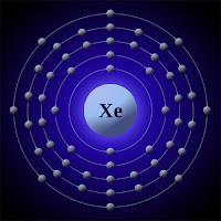 Ksenon (xenon) atomu ve elektronları