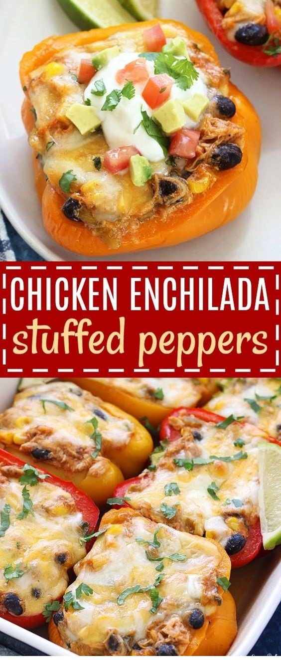 Chicken Enchilada Stuffed Peppers