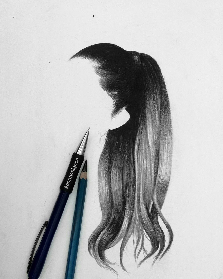 06-dhruvmignon-Minimalist-Realistic-Hair-Study-Drawings-www-designstack-co