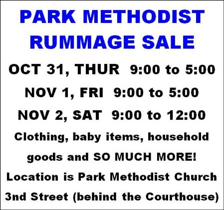 10-31,11-1/2 Park Church Rummage Sale, Coudersport, PA