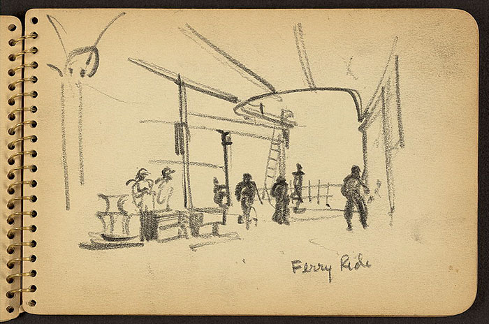 21-Year-Old WWII Soldier's Sketchbooks Show War Through The Eyes Of An Architect - Soldiers On Deck Of Ferry In New York Harbor