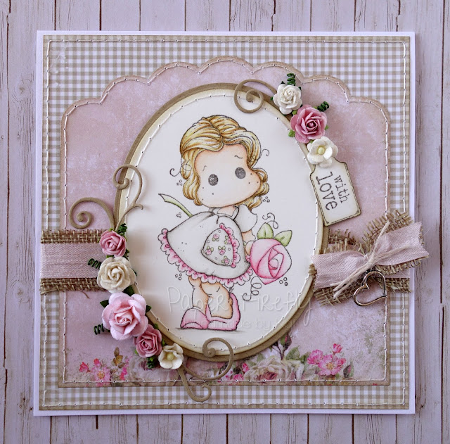 Shabby chic card using Tilda with big big rose and papers/embellishments from The Ribbon Girl
