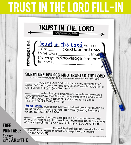 A Year of FHE // There are SO many scripture heroes who show us examples of putting our trust in the Lord! This week's free Family Home Evening lesson is about TRUSTING IN THE LORD and includes this activity in the lesson download. Older kids and teens get to use their scriptures and this download to find examples of faithful men and women who put their trust in God. #lds #faith #trustinthelord #scriptureheroes