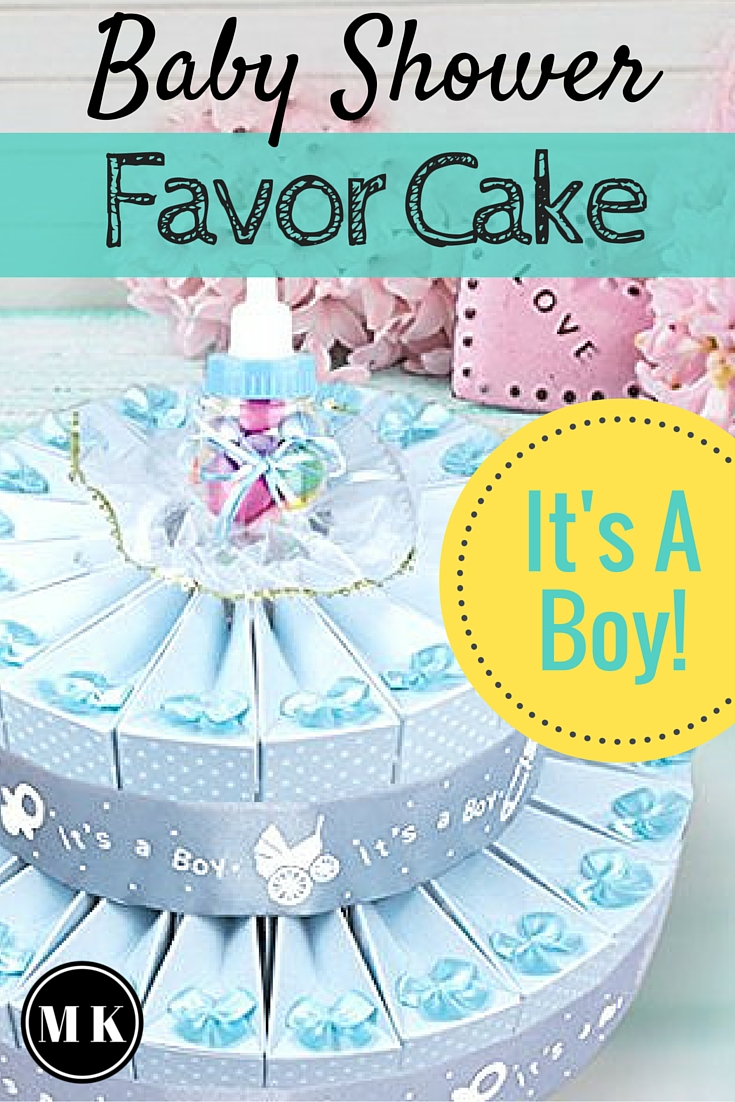 "Baby Shower Favor Cake Kit For Boys – This is a really cute and creative way to display your favor boxes. All you will need to pull this off is the favor cake kit and the candy to put inside. The ""cake"" looks impressive with very little effort, but if you're ready for some DIY, I have a few ideas on how to personalize them for your party too! Your guests will love these ""Thank You"" gifts!"