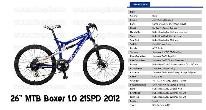 Spesifikasi dan harga sepeda Wimcycle Boxer 1.0