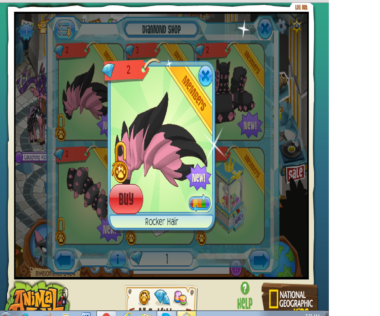 Animal Jam Items, Codes, News and more: Pink rocker hair