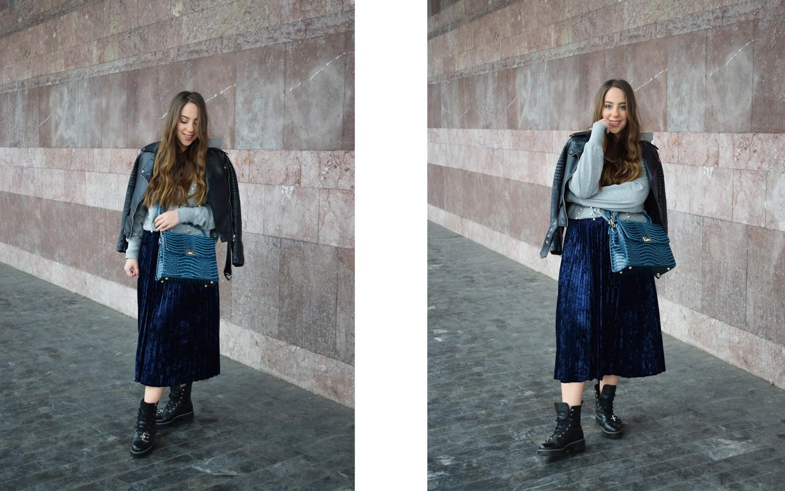 plisirana suknja street style