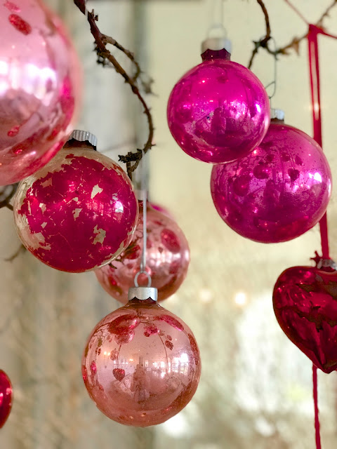 Valentine's Day Home Decor; Nora's Nest, pink antique ornaments, Valentine Trees