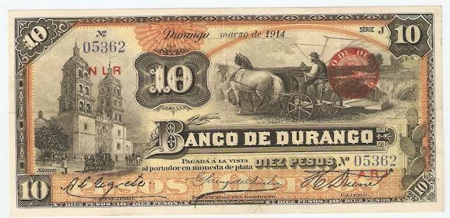 Mexican paper money notes 10 Pesos banknote Banco de Durango
