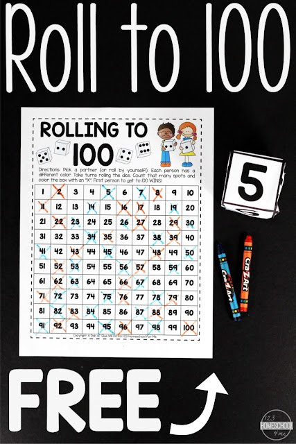 Roll to 100 - fun, free printable worksheets to help kids practice count to 100 with a fun count to 100 activities. This is a fun kindergarten math activities, kindergarten worksheets, math centers, or extra math practice for homeschoolers.