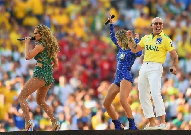 Jennifer Lopez Pitbull Performing World Cup Ceremony 2014